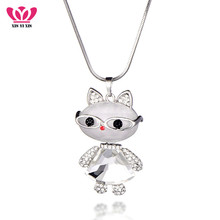 Big Clear Crystal Cat Pendant Necklace Women Gold Silver Chains Sweater Long Necklace Cute Pendant Collier Party Jewelry Gifts fairywoo new 3 styles animal pendant necklace for women 2019 fashion cute cat jewelry gold chains handmade necklace glass beads