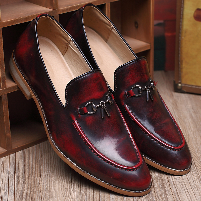 Britannique Les Pointu En Chaussures Officiel silver Cuir Appartements De Robe wine Pour D'affaires Haute Oxford Bronze Red Mode Hommes Qualité Bout Nice BeWrCxod
