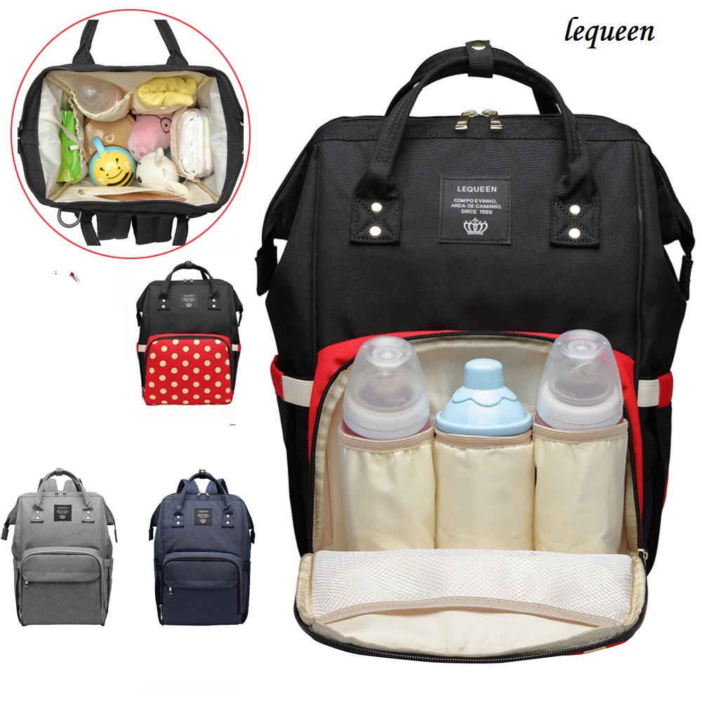 Lequeen Mummy Maternity Diaper Bags Fashion Mummy Maternity Diaper Travel Backpack Baby Care Large Capacity Nursing Zip Backpack lequeen multi function diaper bags zip mummy nursing bag large capacity baby care travel backpack designer nursing bag