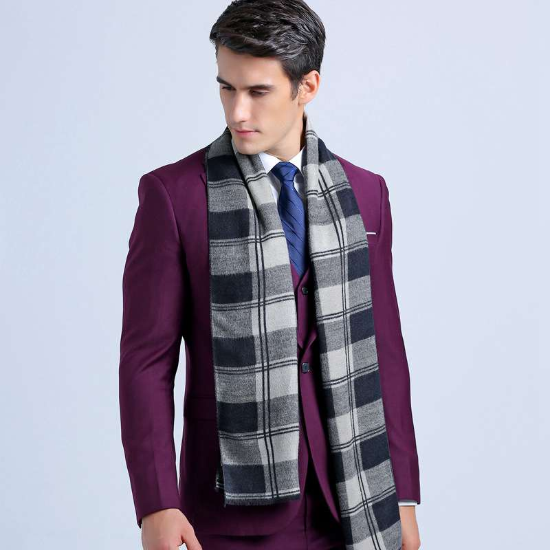 Winter Fashion Cotton Scarf Luxury Brand font b Tartan b font Echarpes Foulards Men Business Scarf