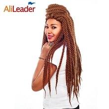 AliLeader 22, 18, 12 дюймов, длинные, средние, короткие, вязанные крючком косы, синтетическая Гавана, твист, черный/красный/серый/коричневый, плетеные волосы, вязанные крючком, скрученные волосы