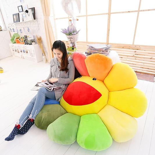 1pc Super Big Plush Sun Flowers Pillow Soft Toy Stuffed Toy Plush Mats Meditation Cushion Floor Cushions For Kids