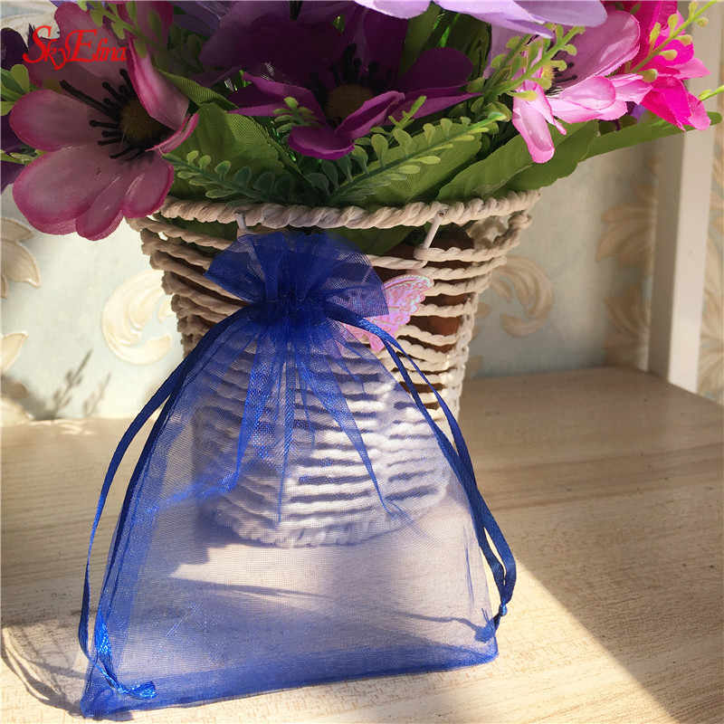 50pcs 7*9CM organza bags small Gauze Element Jewelry Bags   tulle fabric Wedding Gift Bags Sachet Organza Sheer 7ZSH312