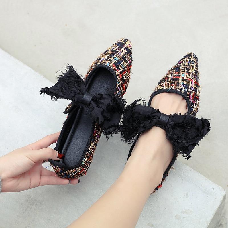 Sur Femme Plus Printemps Black Mocassins Bout La Automne Chaussures Mode Appartements Glissement Femmes Vintage Coréenne Sexy Pointu Des Dames Taille ZOZwq