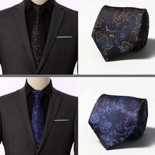 Brand New Gravata Gold Striped Print floral Blue Silk Neck Ties For Men Tie 8cm Slim Wedding Neckties Mens Necktie Cravate