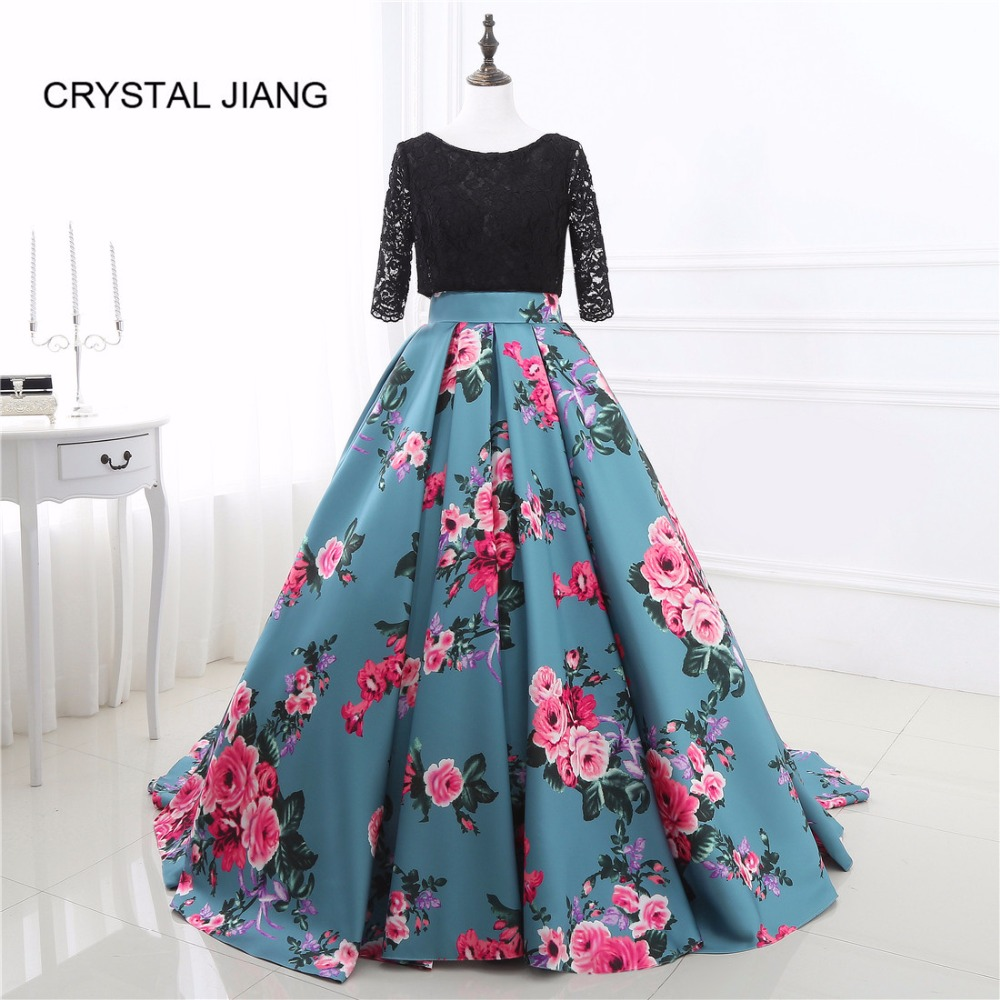 CRYSTAL JIANG 2019   Prom     Dresses   Scoop Collar Half Sleeves Black Lace Floral Printed Skirt A Line   Prom   Gown vestido formatura