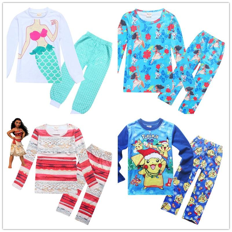Children's Pajamas Mermaid sleepwear suits for girls Moana clothes infant baby boy pyjamas night shirts toddler pijamas costumes футболка для мальчиков children boy clothes camisa 100% vetement garcon enfant girls tee shirts