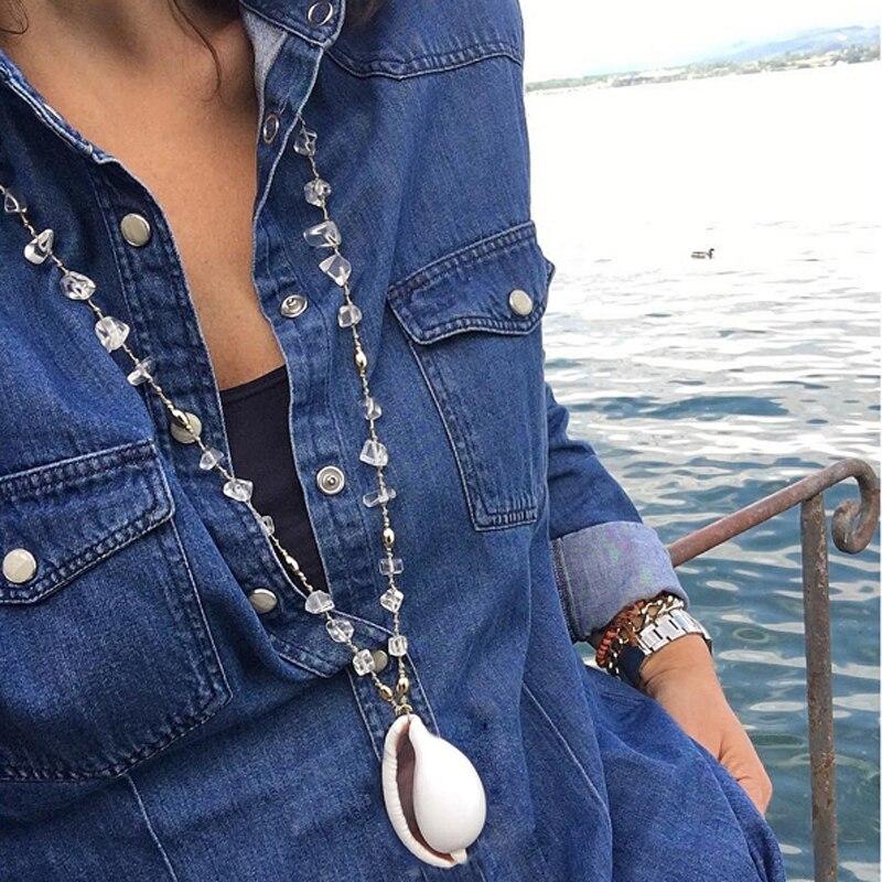 Mond MÄdchen Verknotet Natürliche Kristall Große Kauri Anhänger Halskette Frauen Fahsion Trendy Lange Chic Handmade Collier Femme Dropshipping Schnelle Farbe