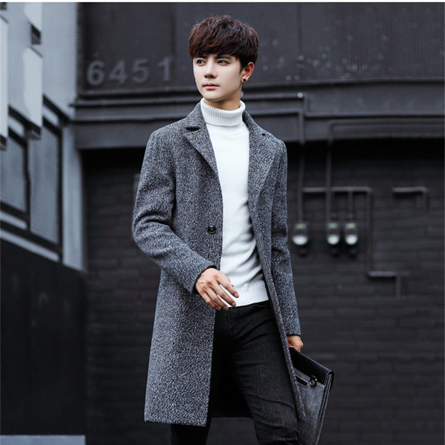 Plus Size 5xl 2018 Slim Smart Casual Korean Style Wool Mens Coats