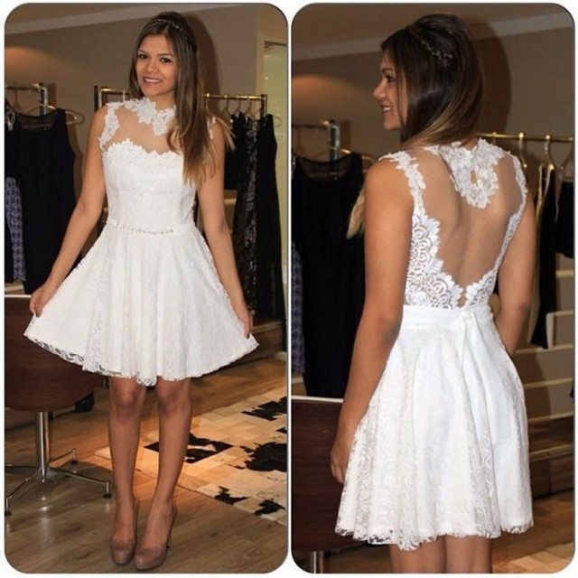 4b6ce32eb Charming Short Lace Cocktail Dresses High Neck Sheer Back Party Dresses  Lovely Teenage Graduation Dresses Fast Shipping