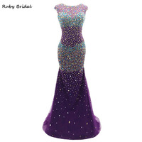 2017 New Long Mermaid Purple Tulle Colorful Beaded Evening Dresses Hot Cheap Vestido De Festa Scoop