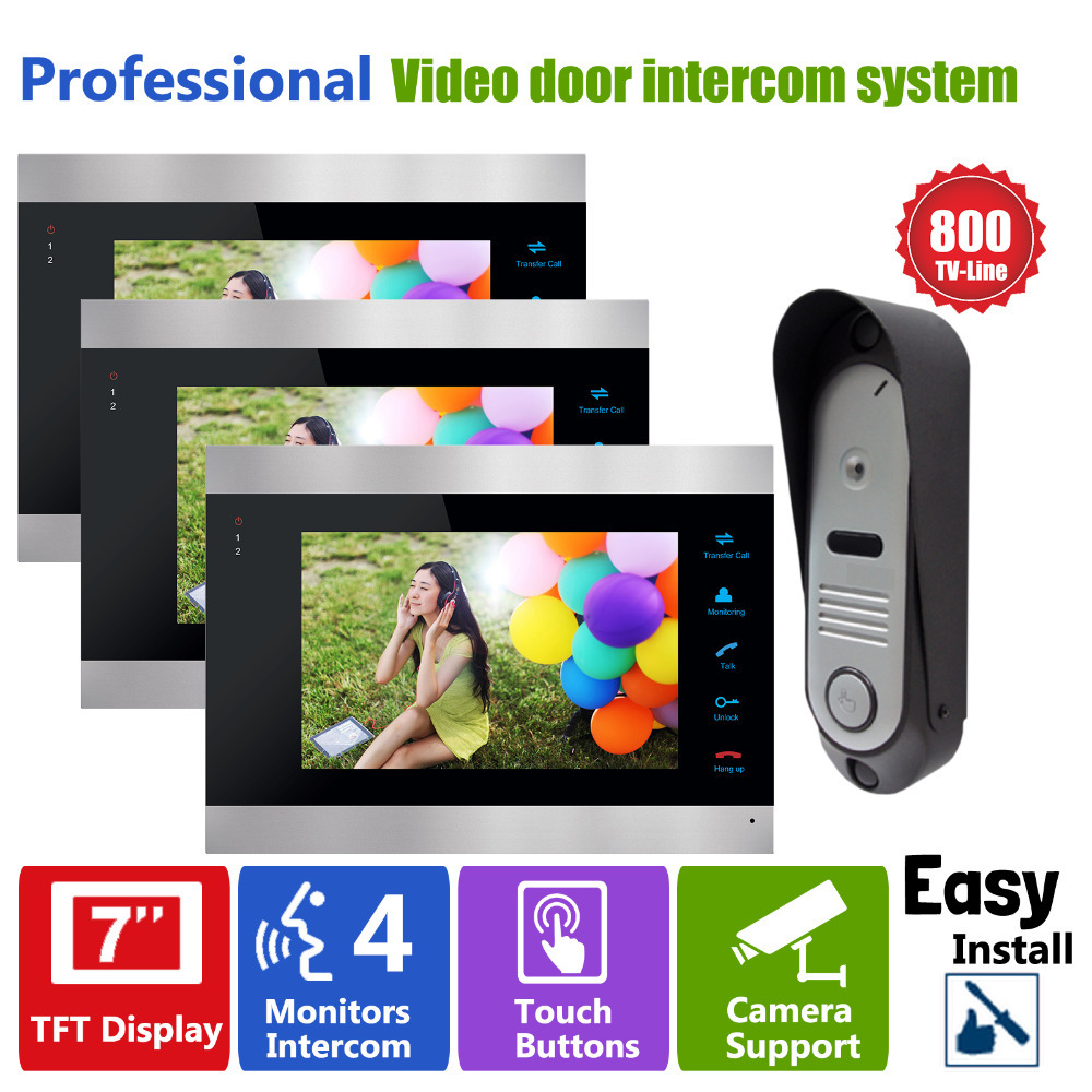 Homefong 7 Inch TFT LCD Video Door Phone Doorbell Intercom HD 3 Monitor Display and 1 Phone Camera Video Door Answering System xsl v70f m4 smart video door phone intercom hd 7 inch display