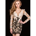 Lace Long Sleeve Homecoming Dresses Beaded Appliques Backless Straight Black and Champagne Tight Short Homecoming Dress