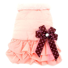 Small Dog TuTu Dress Winter Coat Pleated Skirt Vest Jacket Fleece Lined Pet Clothes Female Bow Pin Simple Elegant