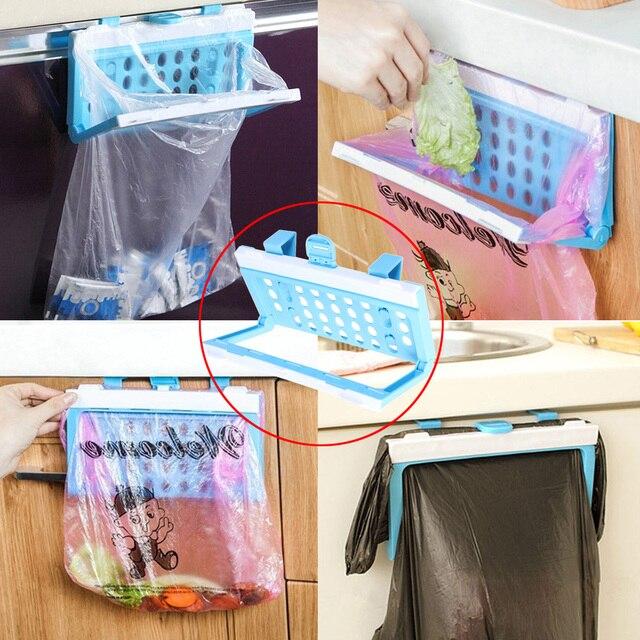 Plastic Garbage Bag Rack Portable Kitchen Hold Hanger Hanging Trash Bag Storage Holder Kitchen Accessories Storage Holders Racks