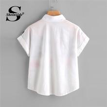 Sheinside White Floral Embroidery Shirt Women Roll Up Sleeve Button Top 2018 Summer Short Sleeve Office Work Wear Elegant Blouse