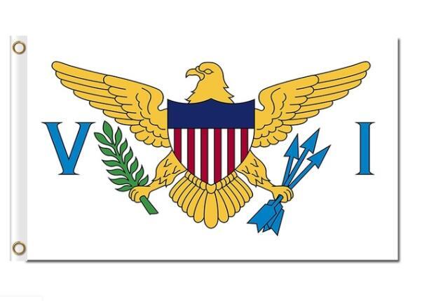 Ilhas virgens bandeiras Americanas pássaro 100D bandeiras 3x5ft poliéster