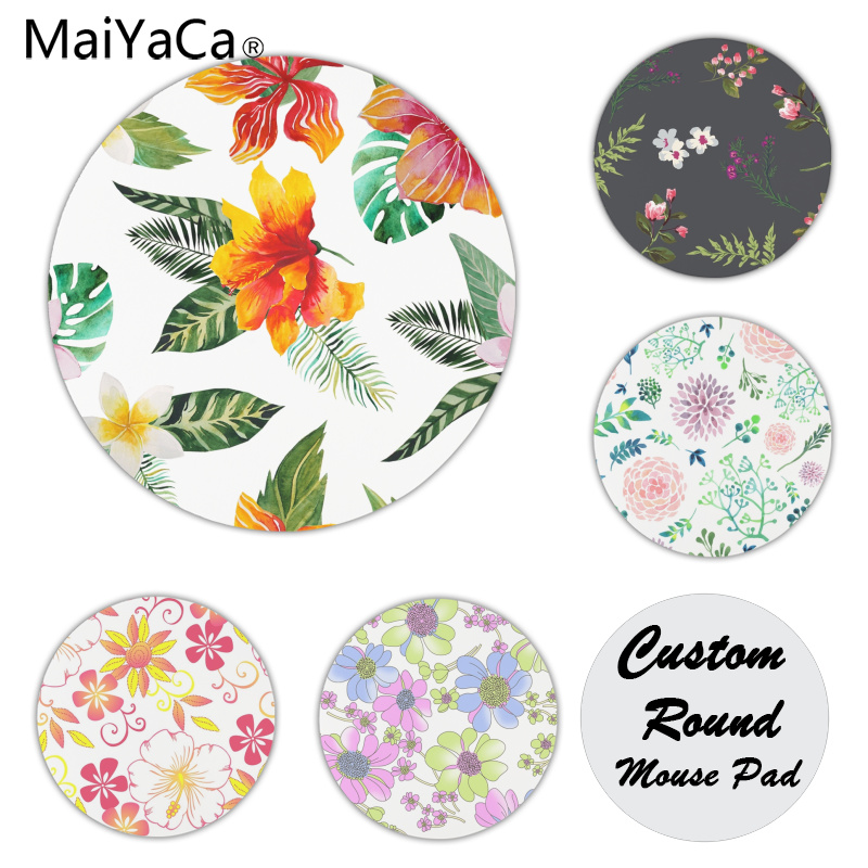 MaiYaCa Custom Skin Bright Flowers Customized laptop Gaming mouse pad Size for 200x200x2mm and 220x220x2mm Round Mousemats