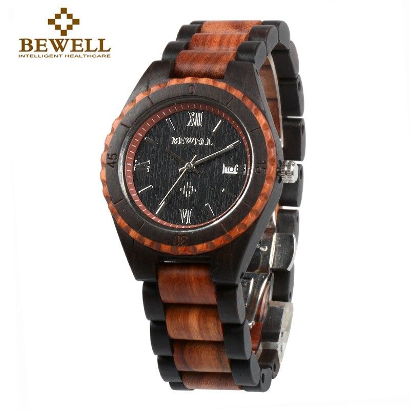 BEWELL Men s Watch Handmade Wooden Watch Brand Design Calendar Quartz Watch Men s Sports Watch