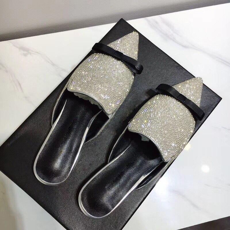 Bling Plat Mariage Bout Black Pointu De Gladiateur Pantoufles Femme Diamant Femmes Mode Strass Sandales 2018 Bowtie Chaussures Bqwpd11