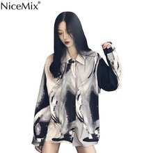 NiceMix Autumn Harajuku Blouse Women Shirt Contrast Color Loose Print Tops And OL Shirts Blusas Camisas Mujer 2019