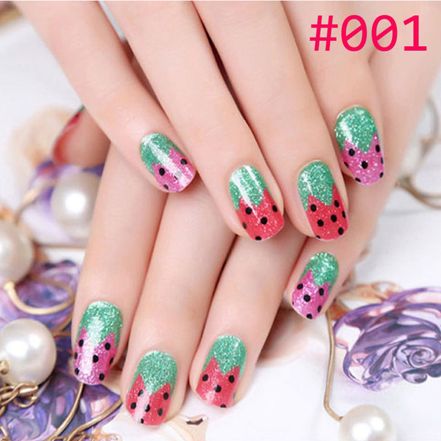 adhesive Nail wraps nails sheet art paper template patch Strawberry ...