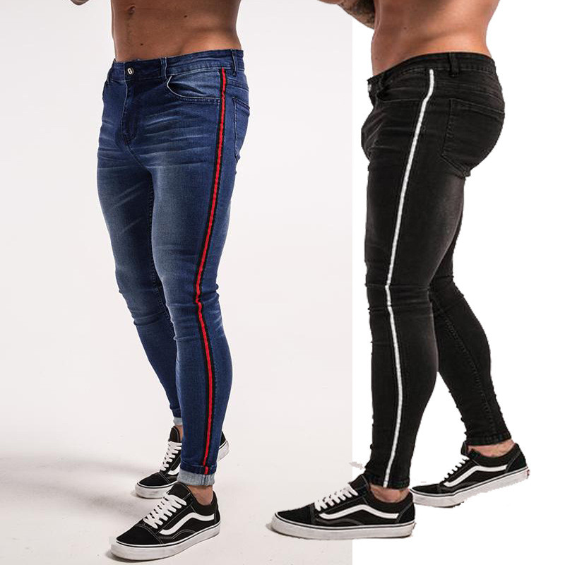Slim Jeans Men Blue Tape Classic Hip Hop Stretch Jeans Skinny Fit Brand Biker Style Tight Jeans Taping Male