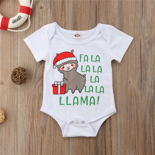 d29daa7f3b7ef Newborn Toddler Baby Boy Girl Christmas Bodysuit Jumpsuit Clothes Outfit  Cute Christmas Alpaca Pattern