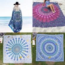 Gasa bohemia rectángulo toalla de playa yoga esteras de tela manta de picnic chal decoración tapiz mandala tapiz colgante de pared del pavo real