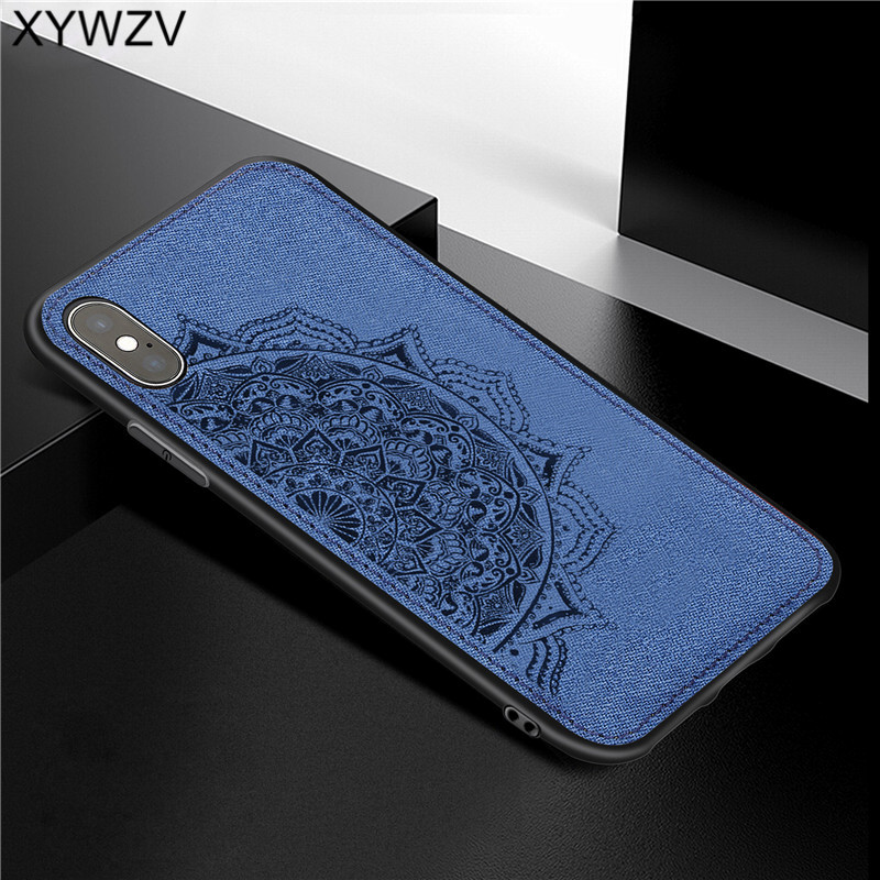 For Apple iPHONE XS Max Shockproof Soft TPU Silicone Cloth Texture Hard PC Phone Case iphone Cover Iphone