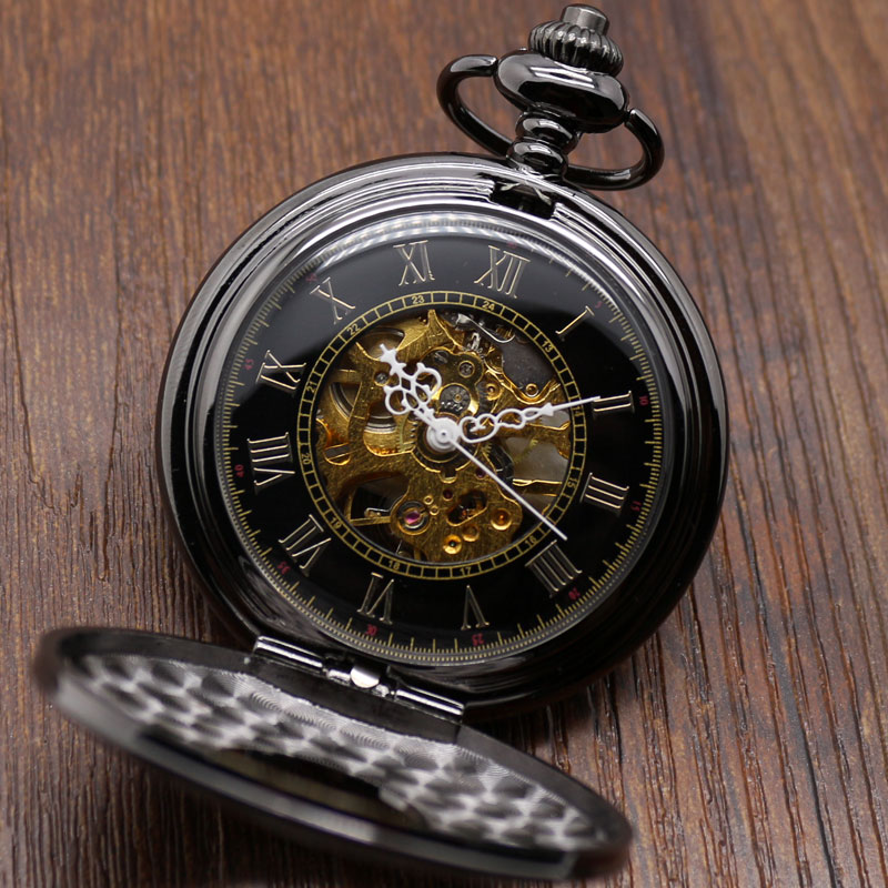 High Quality Vintage Black Men Women Roman Numerals Design Mechanical Hand Winding Fob Pocket Watch Retro Pendant Clock Gift Set