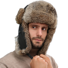 Men Real Rabbit Fur Bomber Hats Women Winter Warm Ushanka Ru