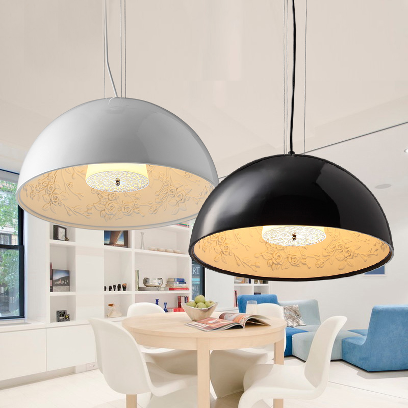 Us 136 0 50 Off Modern Dome Black White Dinning Room Semicircle Chandelier Art Hanging Gardens Lamp Fixtures With110v 220v For Home Lighting In