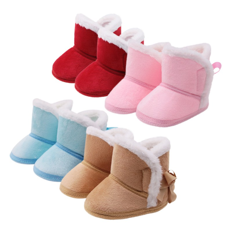 Fashion Warm Newborn Baby Girls Princess Winter Boots First Walkers Anti-slip Infant Toddler Kids Girl Footwear Shoes