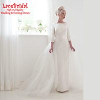 Elegant Fashion A Line Long Sleeve Lace And Beaded Waist Tulle Wedding Dresses 2015 Buttons Long