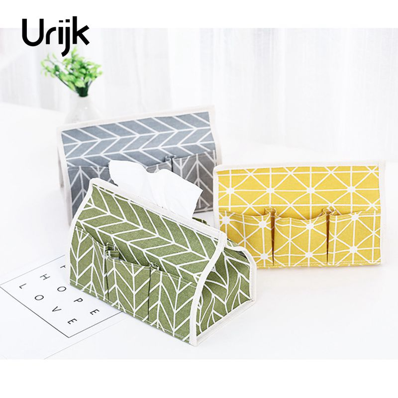 Urijk Pastoral Wind Cotton Linen Storage Tissue Box Makeup Organizer Tissue Holder Desktop Debris Storage Bag Home Decorations