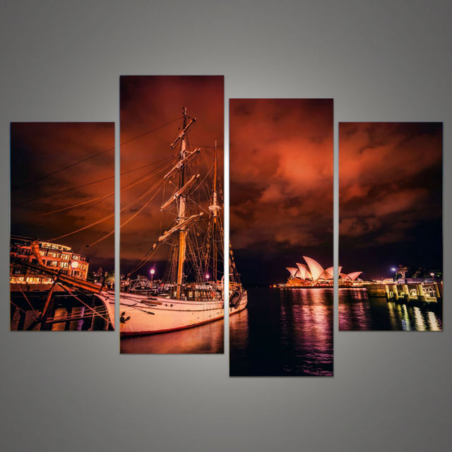 4 Pieces Of Wall Art Sydney Opera House Modern Printing Fashion Mural Posters Pictures