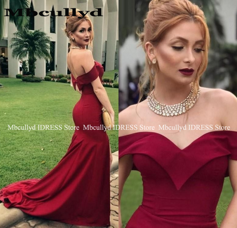 Mermaid Bridesmaid Dresses 2019 Dark Red Sweethert Bckless Floor Length Wedding Guest Prom Party Gowns Vestido De Festa Longo