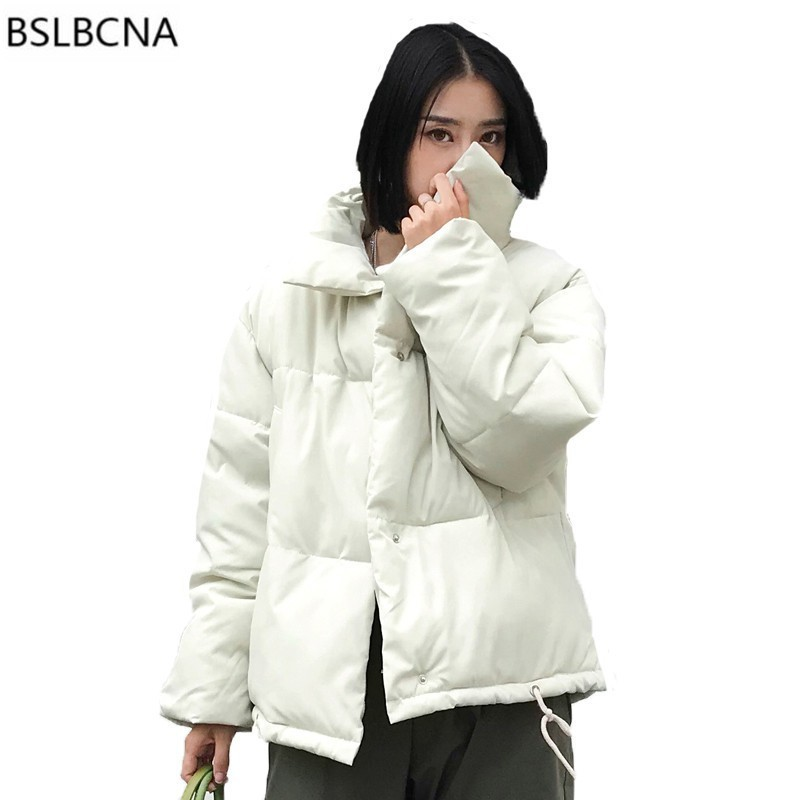 2018 New Cotton Down Jacket Women Winter Coat Loose   Parka   Feminina Plus Size Casual Sigle Breasted Oversize Padded Outwear A516