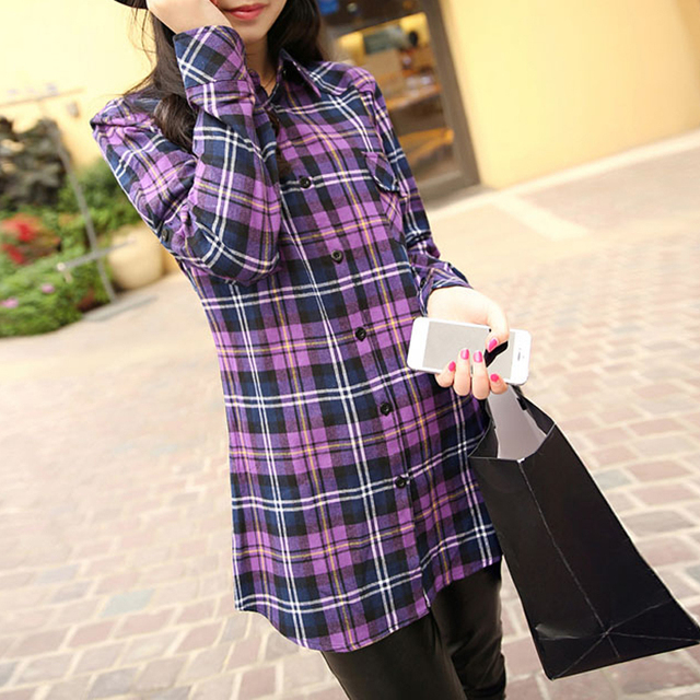 2015 Fashion Womens Tops Long Sleeve Turndown Collar Slim Fit Cotton Women Plaid Flannel Shirt Female Casual Blouse Purple XXXL