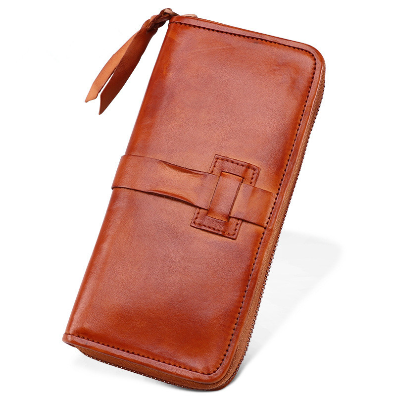 Business Men Genuine Leather Bag Long Zipper Wallet Card Money Holder Clutch Purse Vegetable Tanned Leather Wallets Phone Pocket luxury brand vintage handmade genuine vegetable tanned cow leather men women long zipper wallet purse wallets clutch bag for man