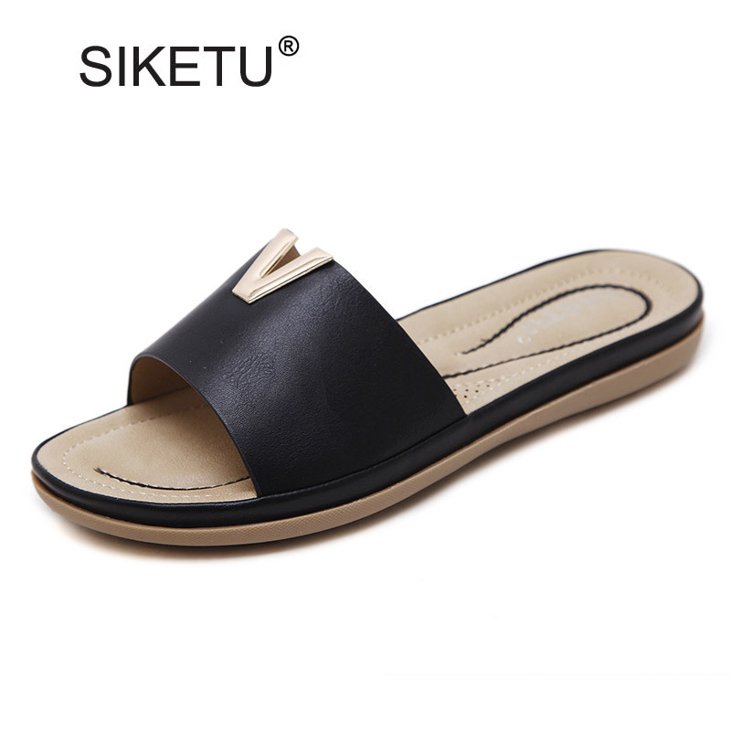 Women Sandals Summer Outside Slippers Metal Decoration Flats Slides Women Solid Ladies Casual Slip On Platform Beach Shoes Woman 2018 summer ladies thick bottom drag slope beach shoes for women casual non slip flat bottomed slippers female slides shoes