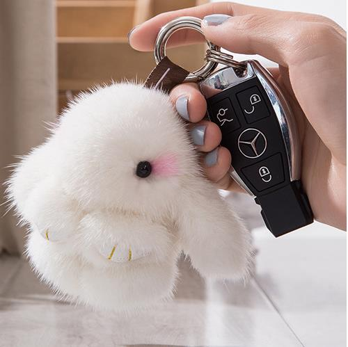 Real Genuine Mink Rabbit Furs Keychain Animal Pendant Bag Car Charm Tag Cute Mini Bunny Toy