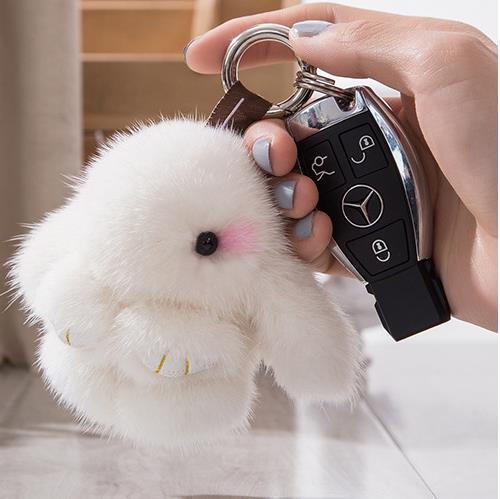 real mink fur rabbit cute keychain fuzzy pom pom bunny keychains anime purse handbag charms pendant 10cm fluffy animal bag charm