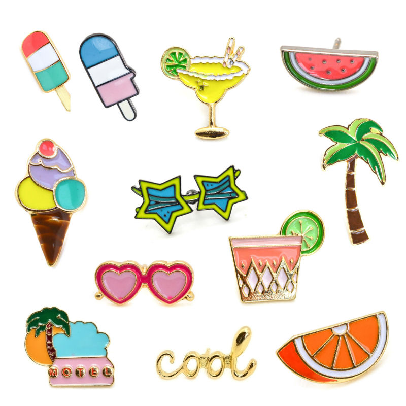 Personalized Design Gold-color Cool Enamel Ice Cream Watermelon Orange Fruit Juice Coconut Tree Sunglasses Brooches For Women