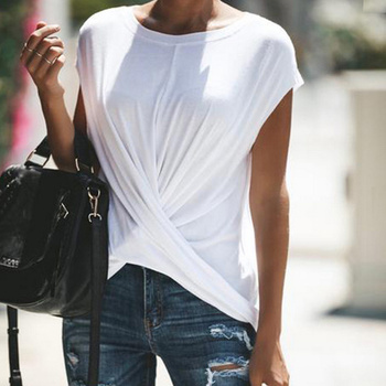 Irregular Women's TShirt Top Twisted Plus Size O-Neck Black T-Shirts Women 2019 Summer Short Sleeve Solid T Shirts Tops Ladies