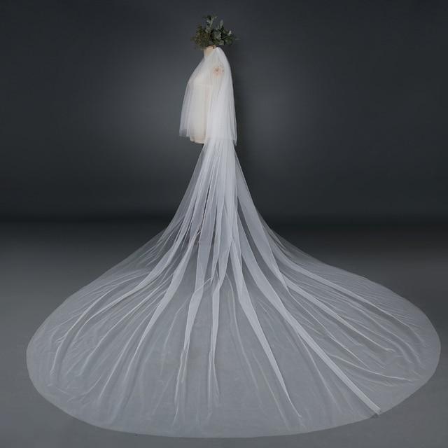2016 Elegant White/Ivory Mantilla velos de novia Wedding Veil Bridal Veil Long With Comb Wedding Accessories MD3002