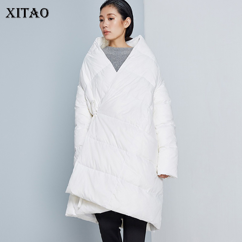 [XITAO] Korea Fashion Casual Women 2018 Autumn White Duck   Down   Asymmetrical Solid Color Bandage Loose Thick   Down     Coat   ZLL1465