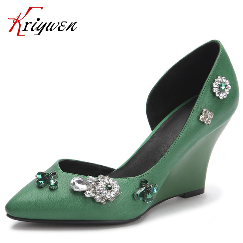 100% cowhide leather Yellow green elegant lady 2016 Women wedges pumps pointed toe High Heels Comfortable party Shoes rhinestone