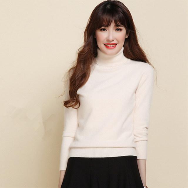 Otoño e invierno mujer suéter de cuello alto suéter delgado suéter de cachemira suéter suéter básico engrosamiento de lana de las mujeres